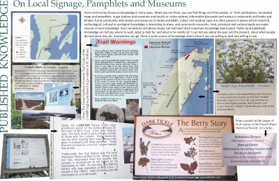 Published Knowledge: On Local Signage, Pamphlets and Museums