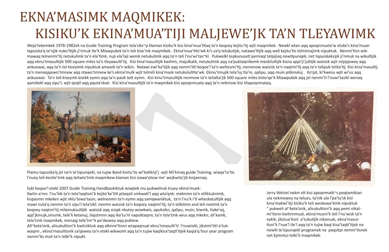 Ekna'masimk Maqmikek: Kisiku'k Ekina'mua'tiji Maljewe'jk Ta'n Tleyawimk